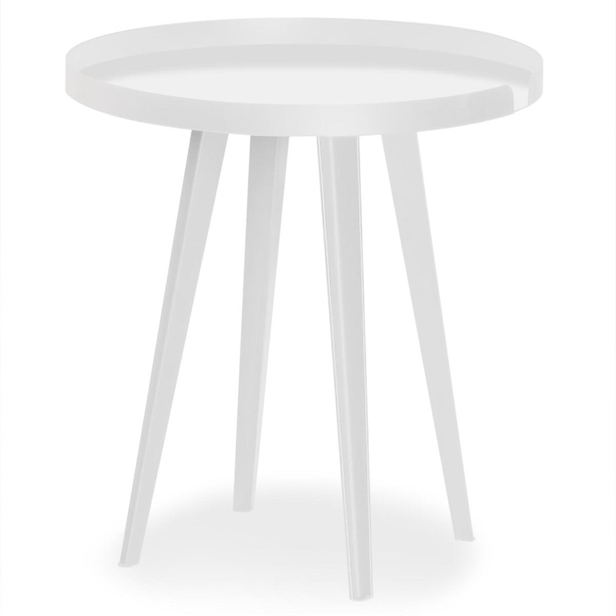 Table d'appoint magnétique ronde à rebord 45cm Bipolart Métal Blanc