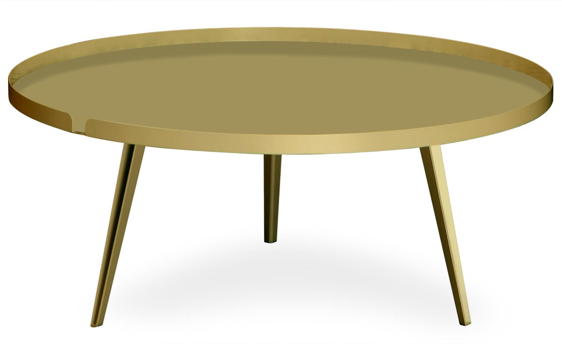 Table basse magnétique ronde à rebord 90cm Bipolart Métal Or
