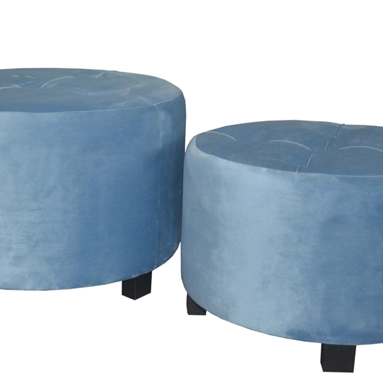 Set de 3 poufs Rondeo Velours Bleu