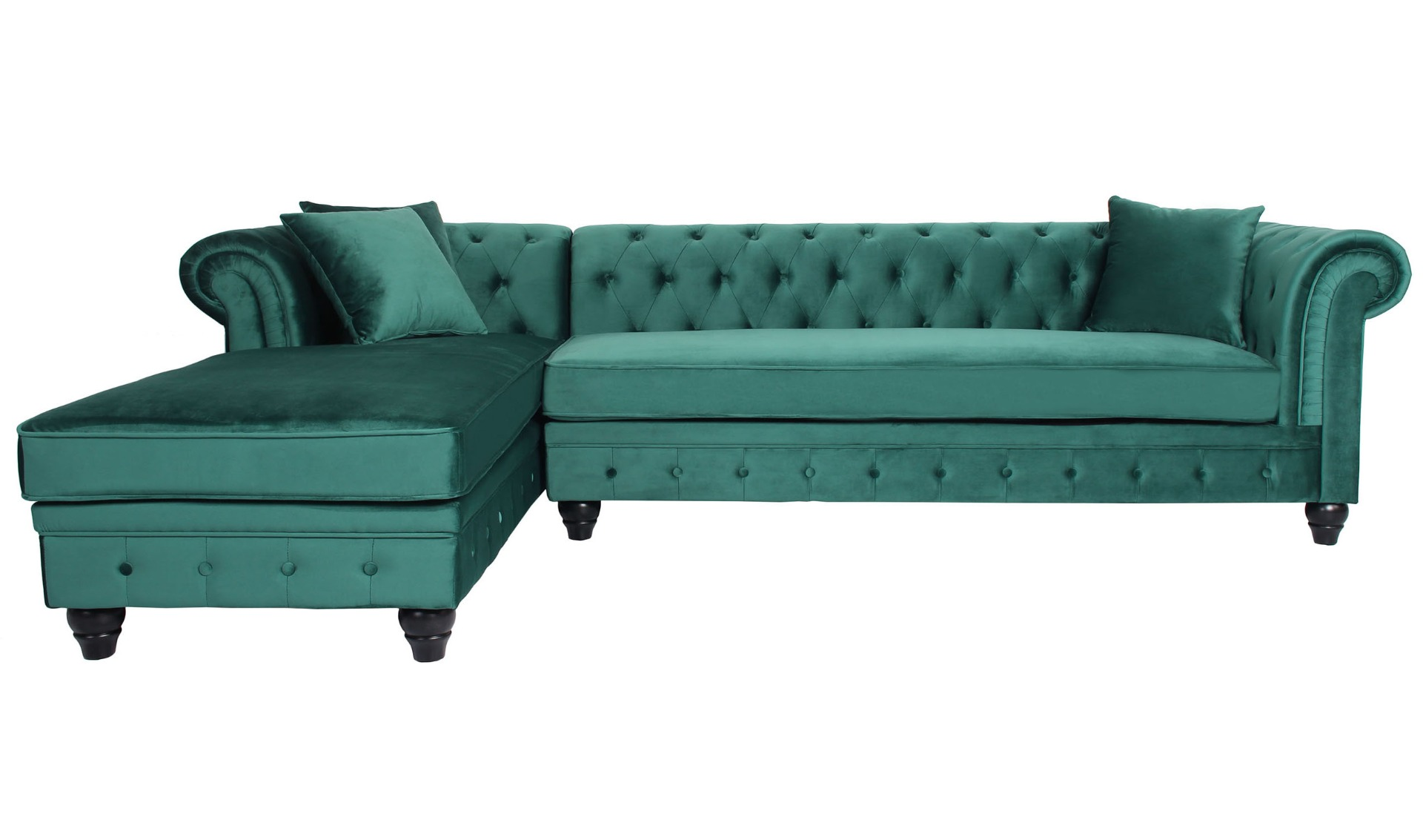 Canapé d'angle capitonné style chesterfield Roosevelt Velours Vert