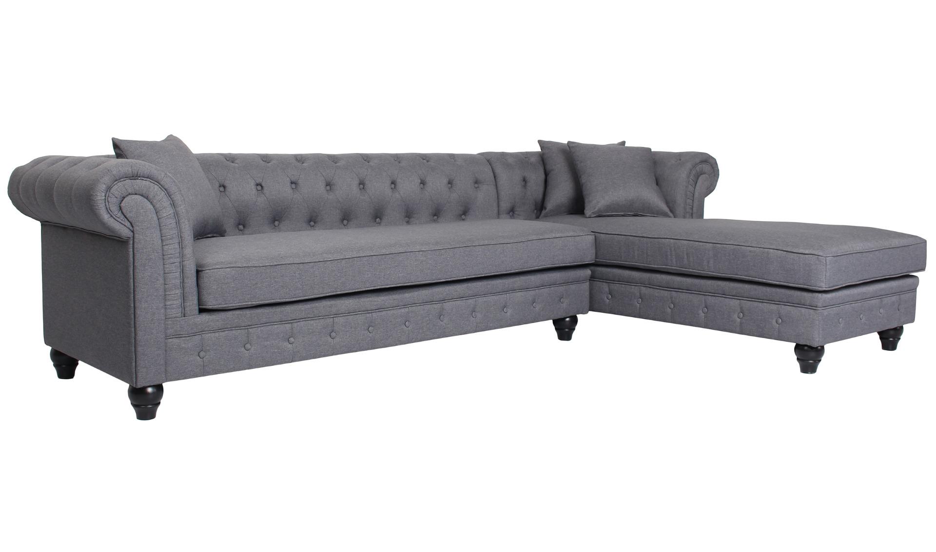 Canapé d'angle capitonné style chesterfield Roosevelt Tissu Gris Foncé