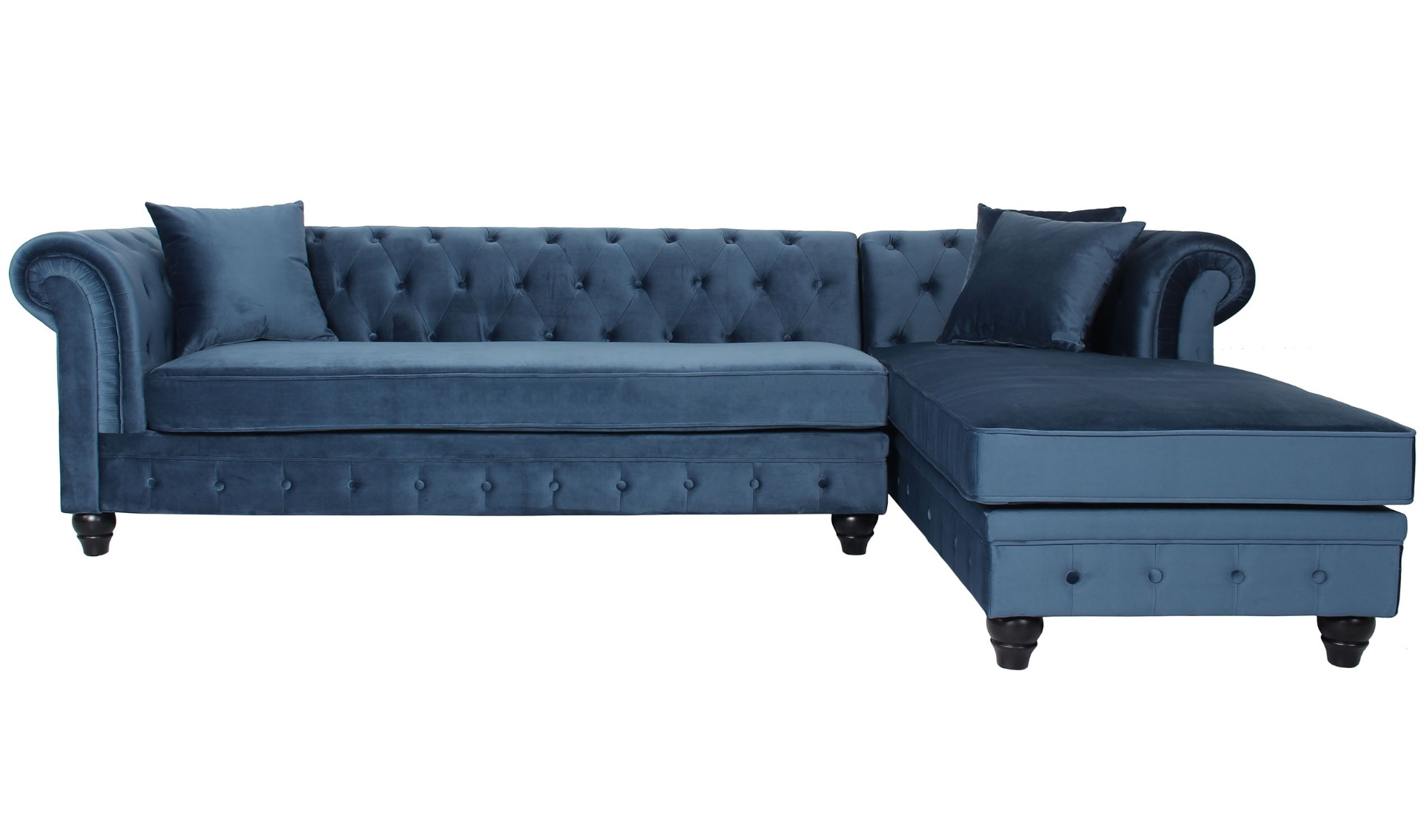 Canapé d'angle capitonné style chesterfield Roosevelt Velours Bleu