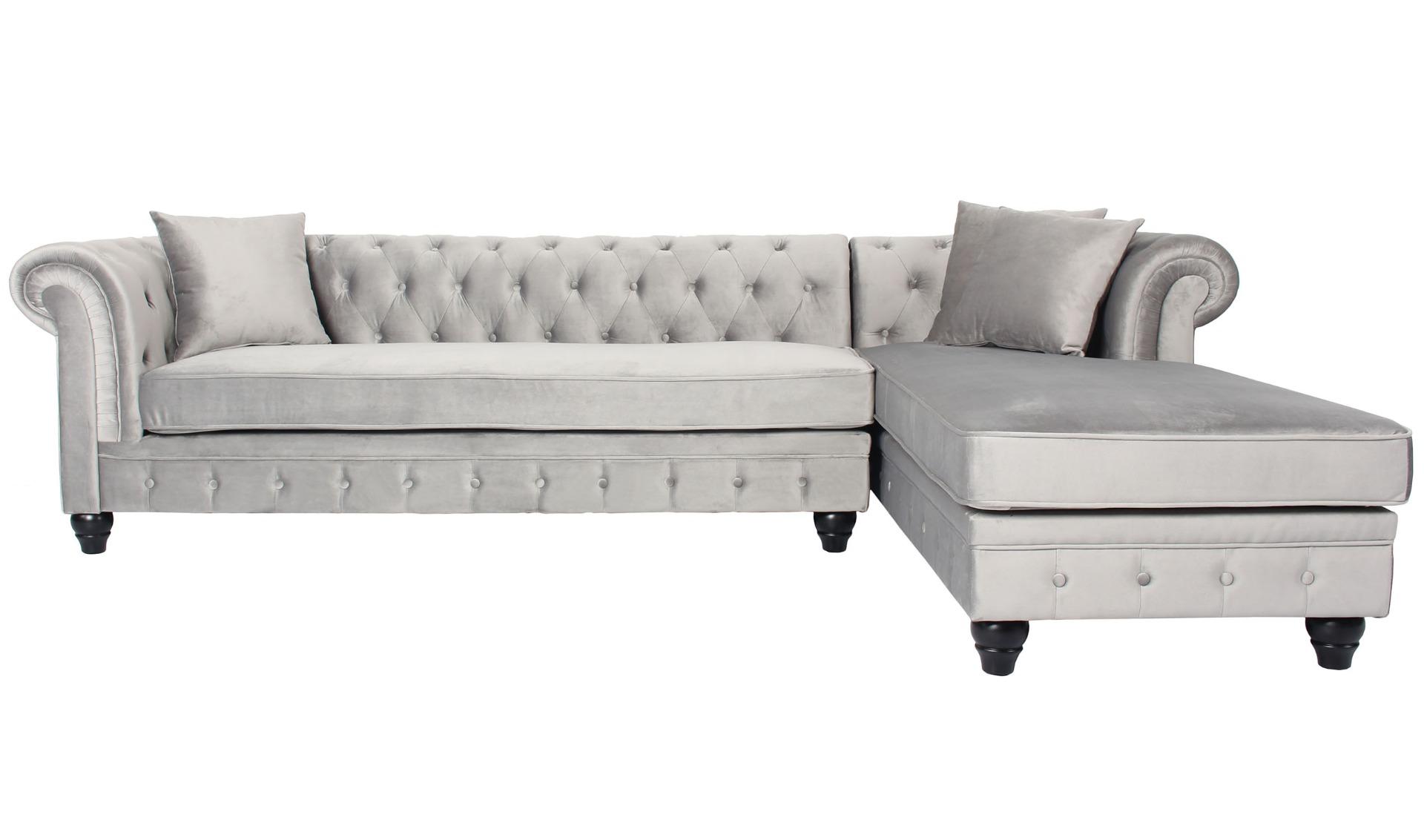 Canapé d'angle capitonné style chesterfield Roosevelt Velours Argent