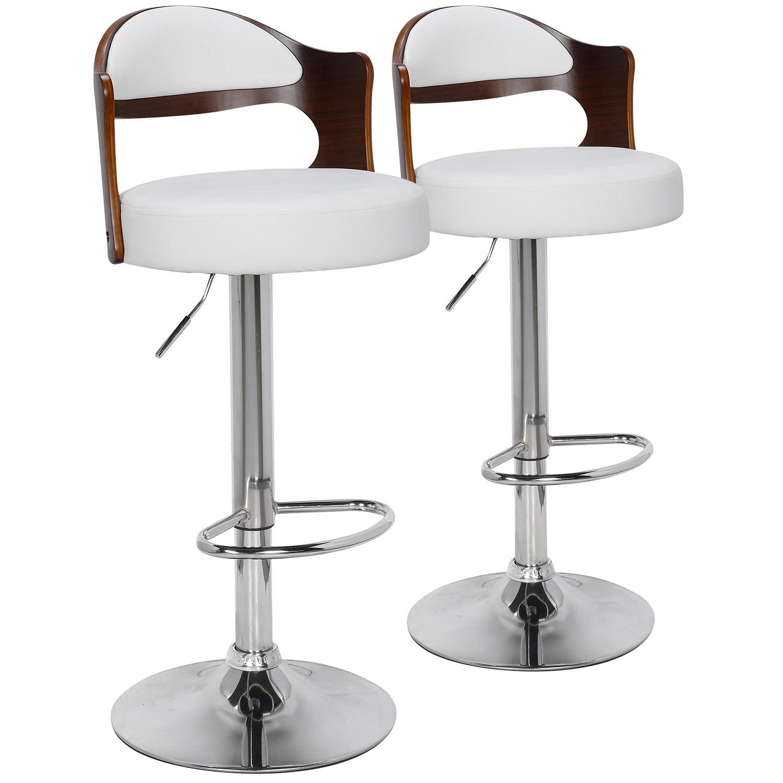 Lot de 2 chaises de bar Ruben Bois Noisette & Blanc
