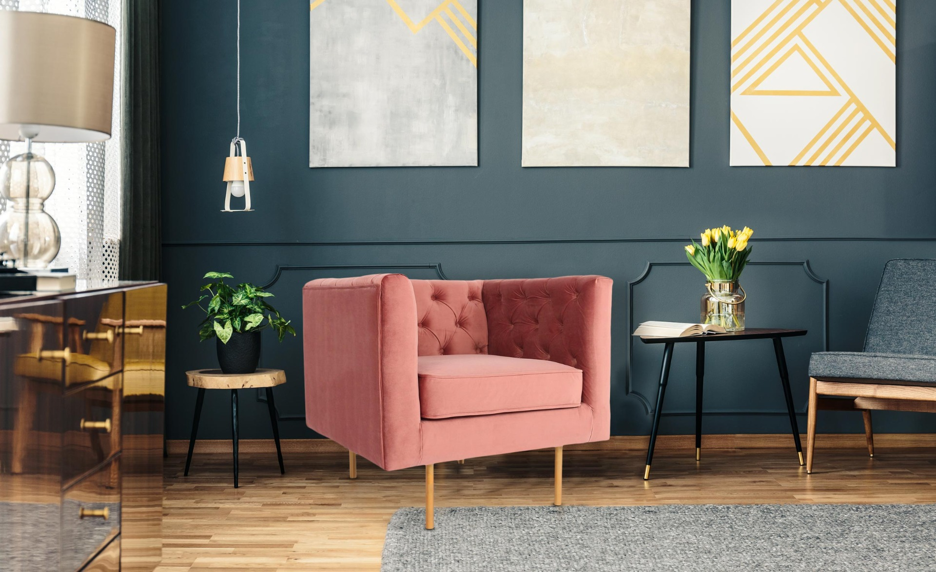 Fauteuil Sacha Velours Rose