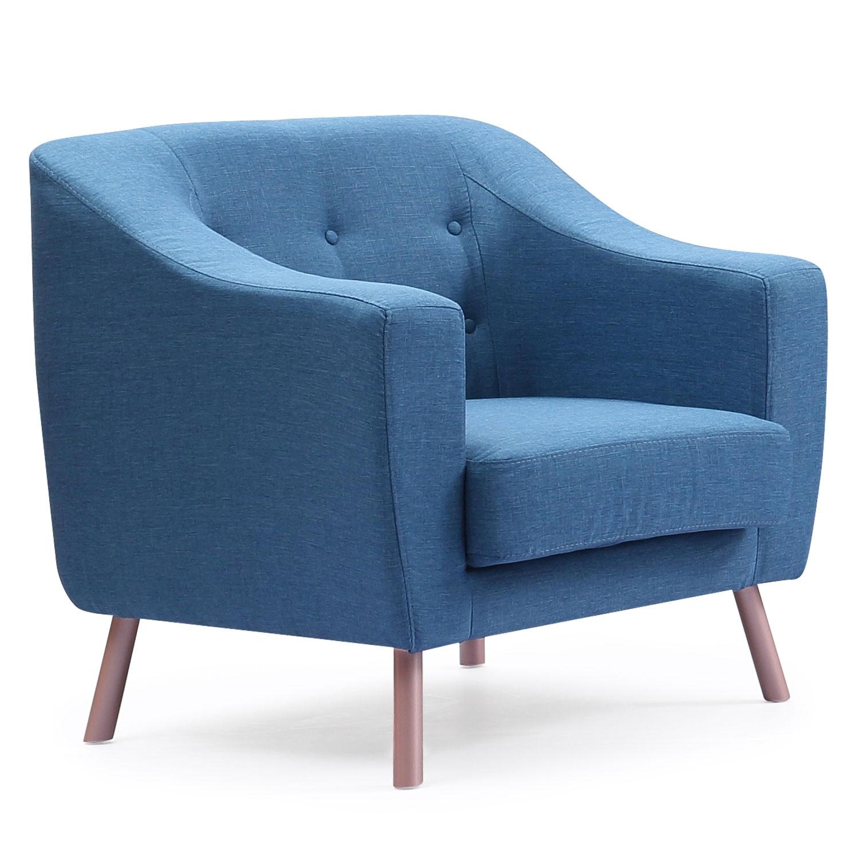 Fauteuil Sanson en tissu Bleu en biais