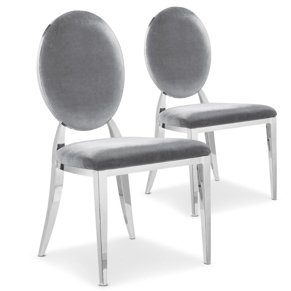 Lot de 2 chaises Sofia velours argent