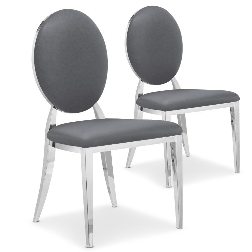 Lot de 2 chaises médaillon Sofia Simili Gris