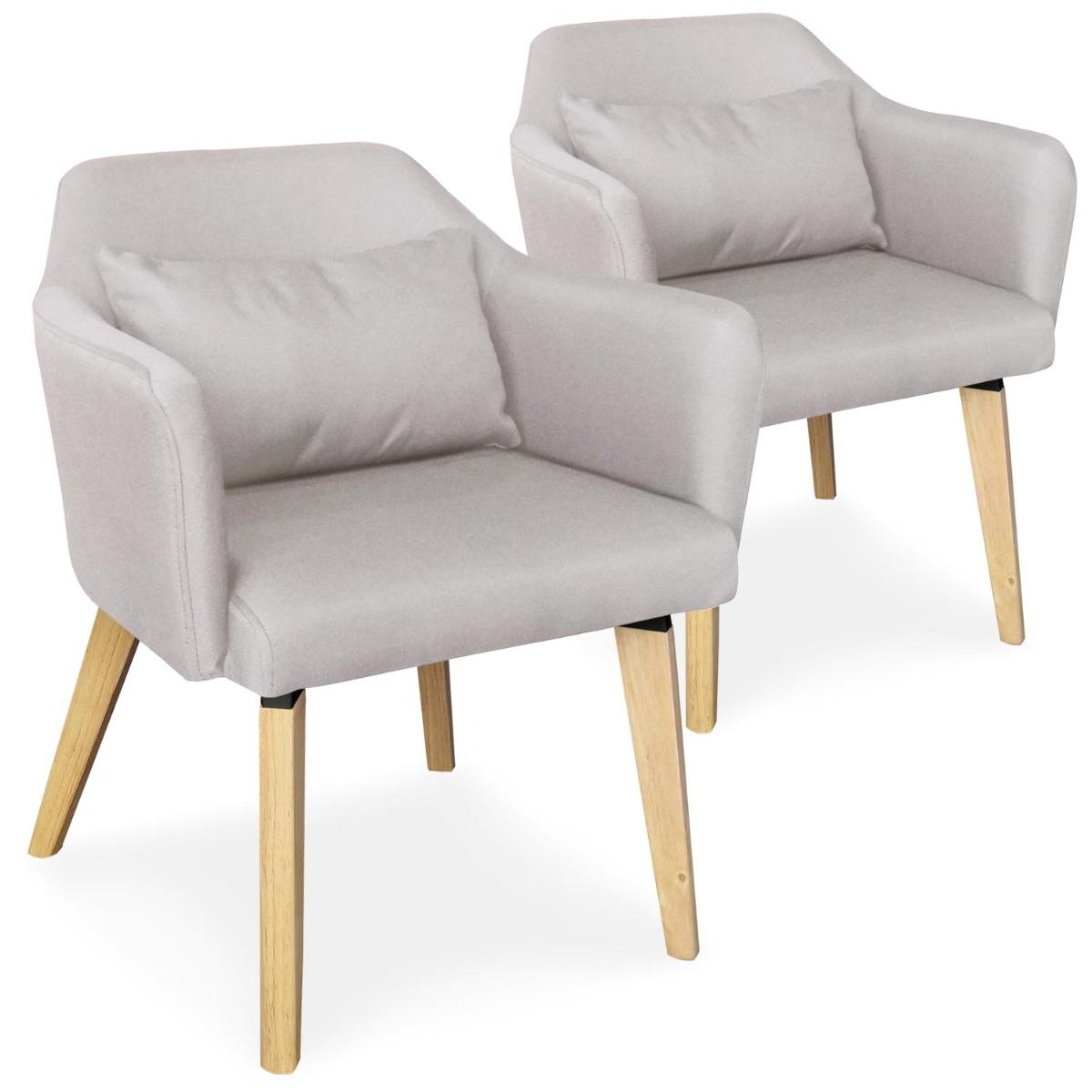 Lot de 2 chaises / fauteuils scandinaves Shaggy Tissu Beige