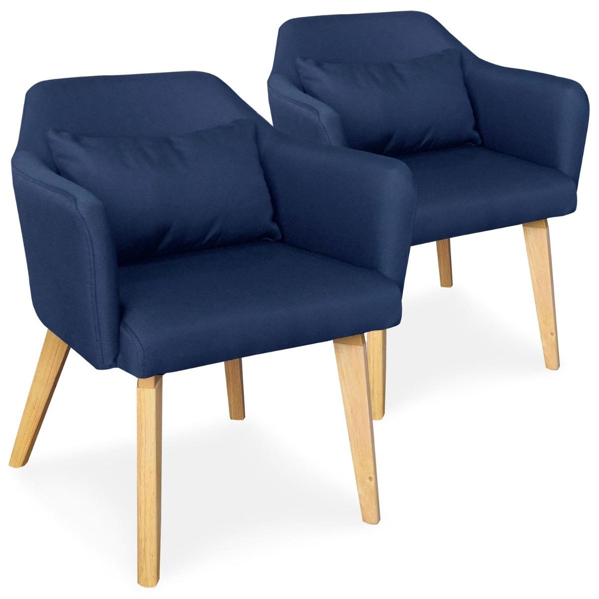 Lot de 2 chaises / fauteuils scandinaves Shaggy Tissu Bleu
