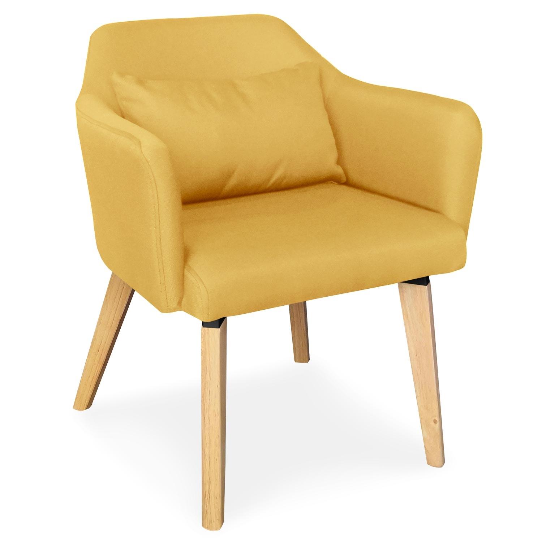 Lot de 2 chaises / fauteuils scandinaves Shaggy Tissu Jaune