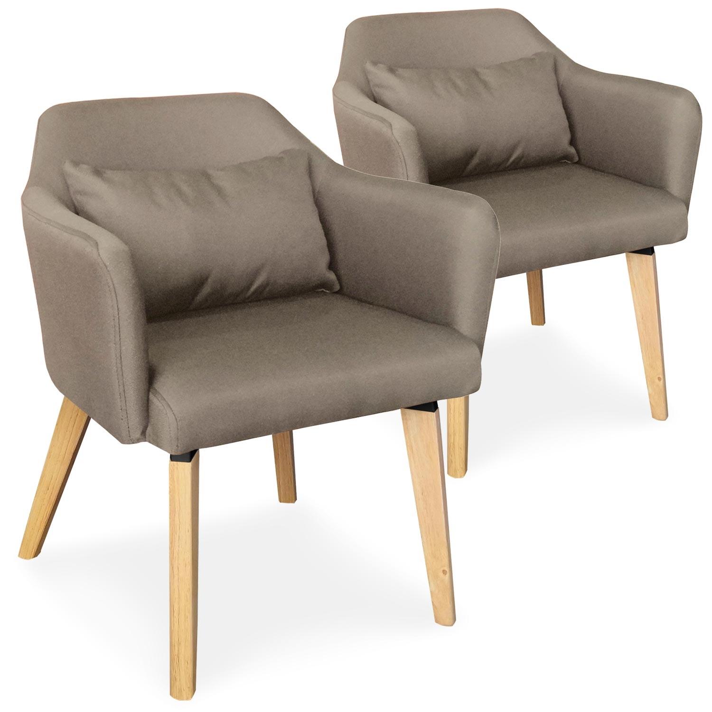 Lot de 2 chaises / fauteuils scandinaves Shaggy Tissu Taupe