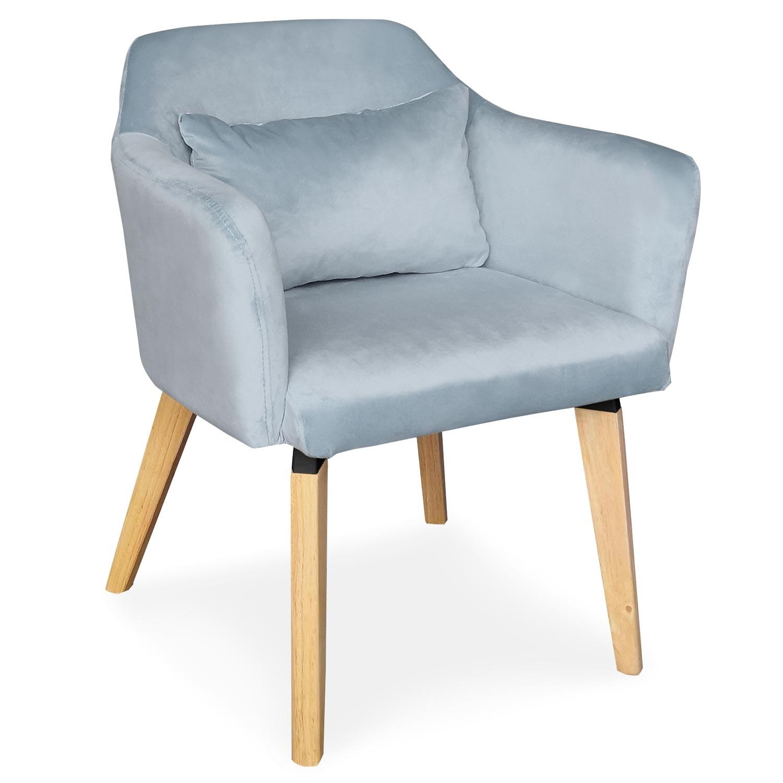 Chaise / Fauteuil scandinave Shaggy Velours Bleu Ciel
