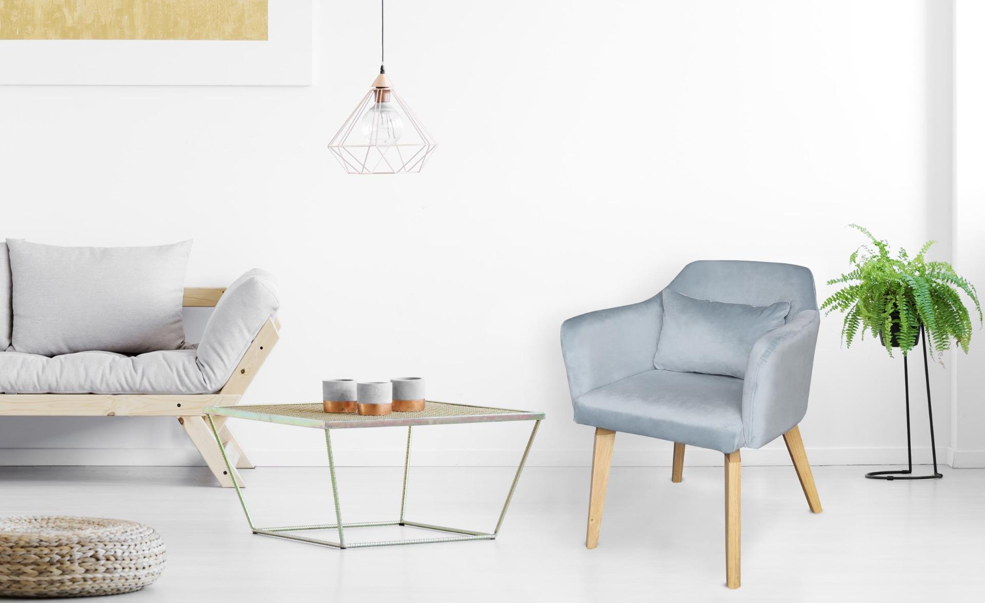 Lot de 2 chaises / fauteuils scandinaves Shaggy Velours Bleu ciel