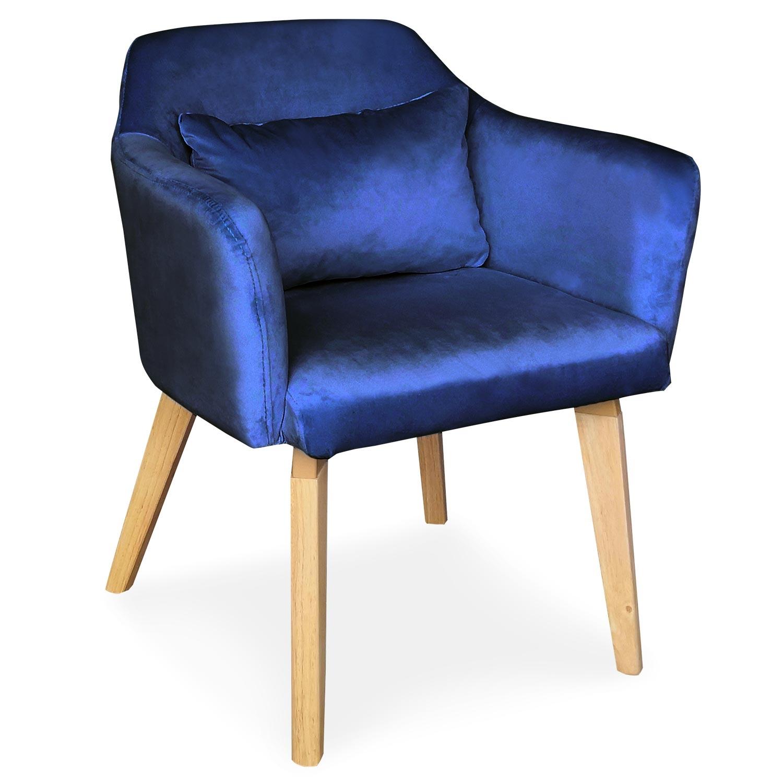 Chaise / Fauteuil scandinave Shaggy Velours Bleu