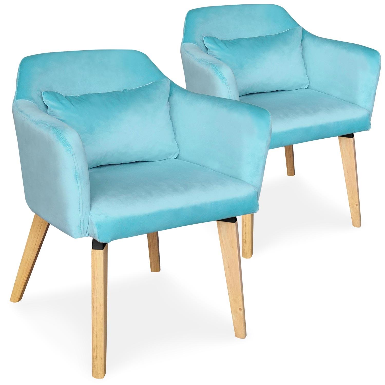 Lot de 2 chaises / fauteuils scandinaves Shaggy Velours Menthe