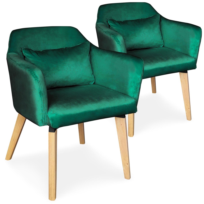 Lot de 2 chaises / fauteuils scandinaves Shaggy Velours Vert