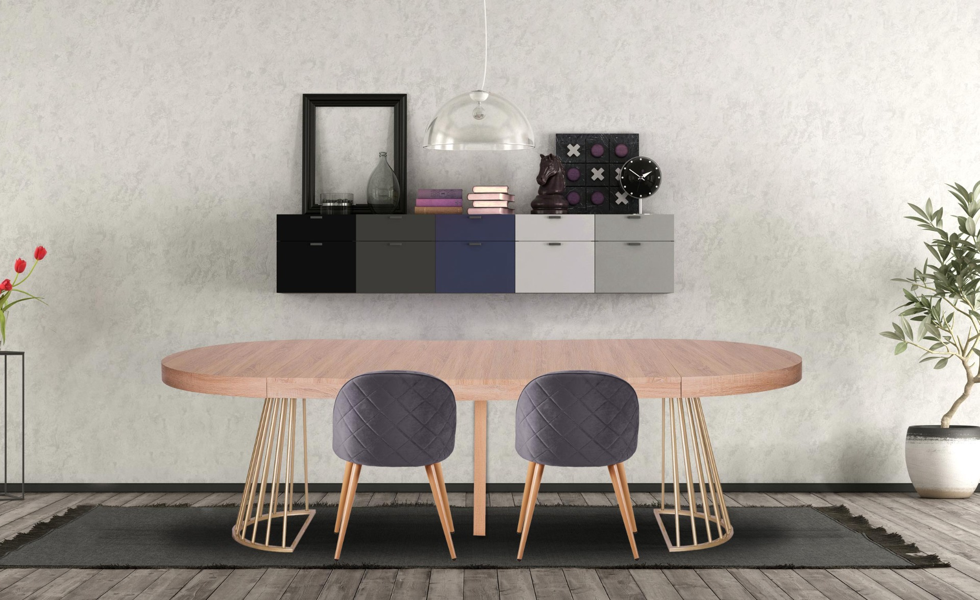 Table ronde extensible Soare Chêne Clair pieds Or