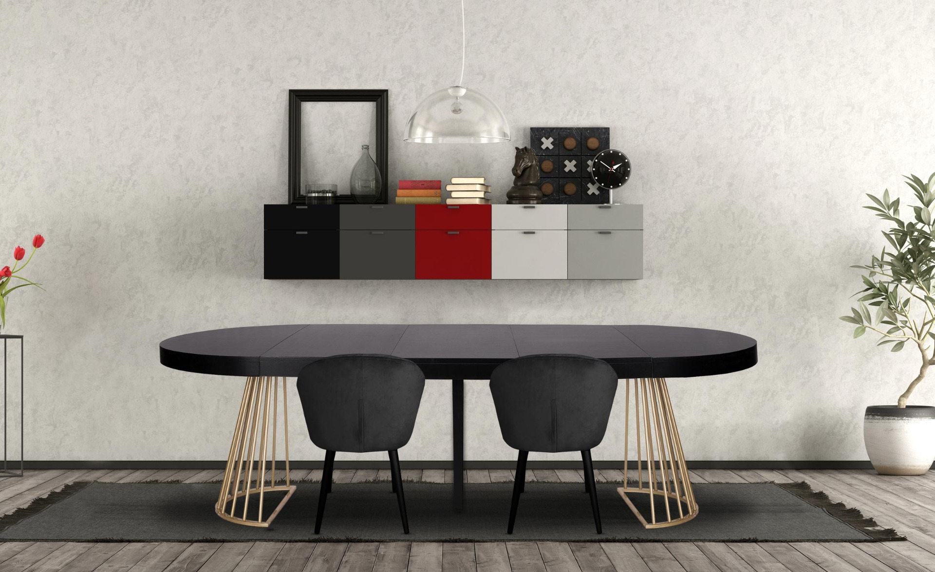 Table ronde extensible Soare Noir pieds Or