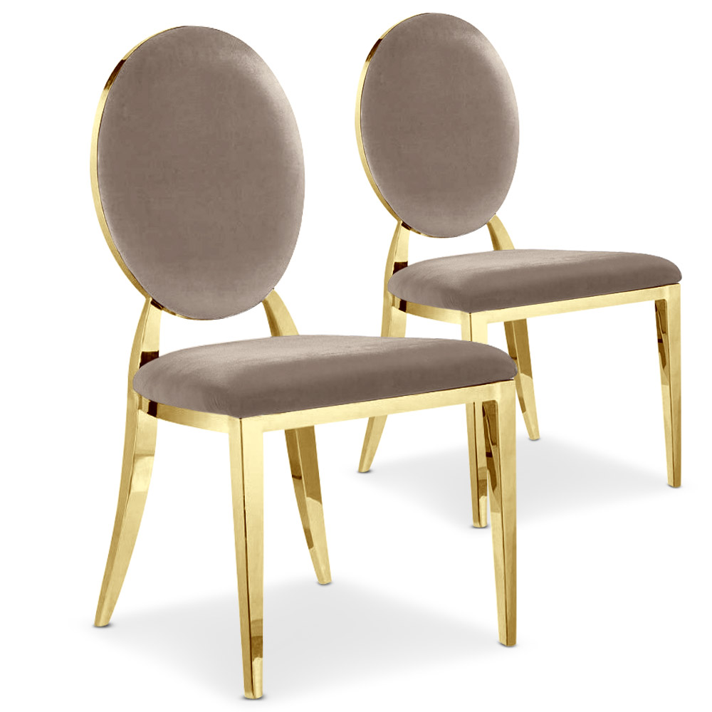 Lot de 2 chaises médaillon Sofia velours Taupe