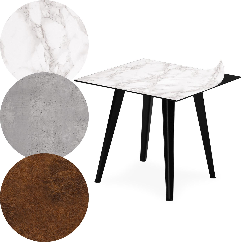 Table d'appoint magnétique carrée 40cm Bipolart Métal Noir avec 3 Tops style Textures