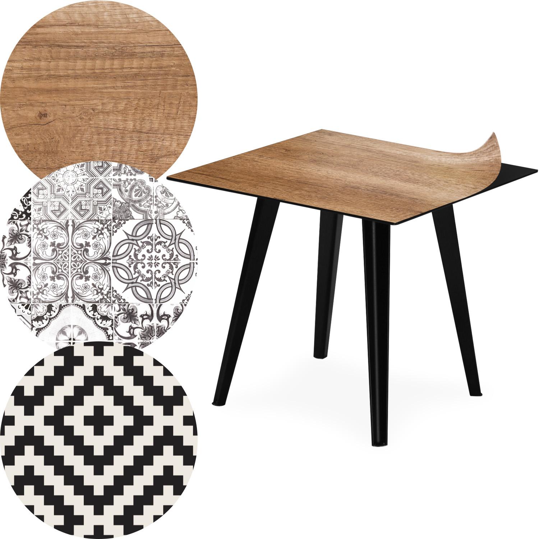 Table d'appoint magnétique carrée 40cm Bipolart Métal Noir avec 3 Tops style Natural