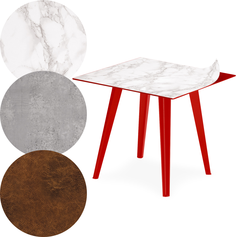 Table d'appoint magnétique carrée 40cm Bipolart Métal Rouge avec 3 Tops style Textures