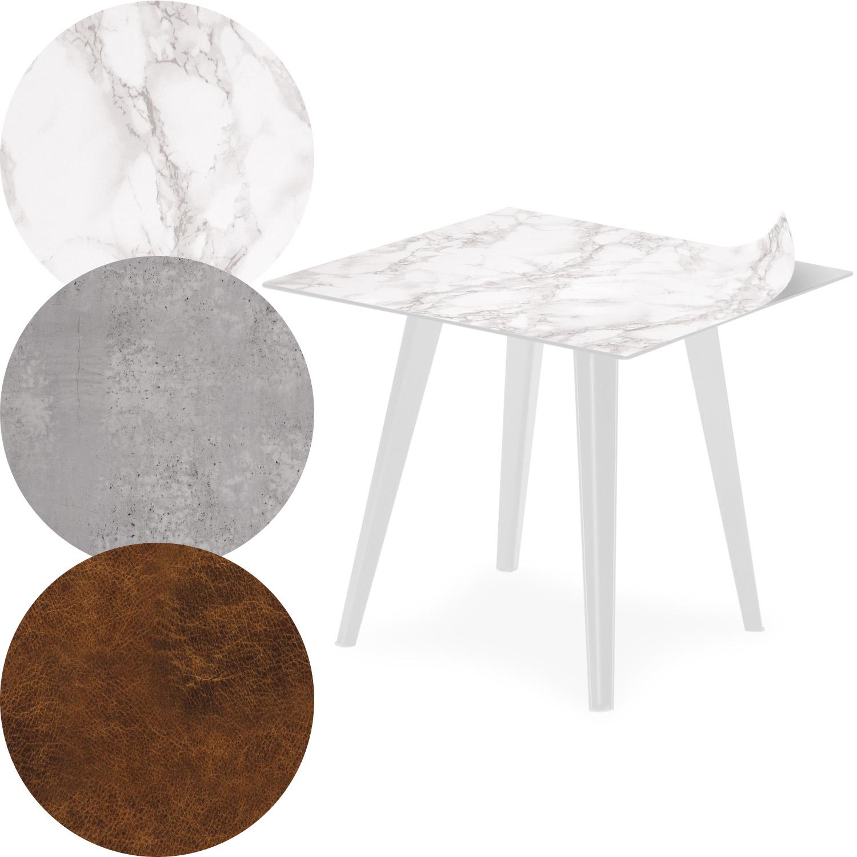 Table d'appoint magnétique carrée 40cm Bipolart Métal Blanc avec 3 Tops style Textures
