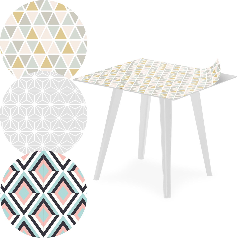 Table d'appoint magnétique carrée 40cm Bipolart Métal Blanc avec 3 Tops style Scandinave