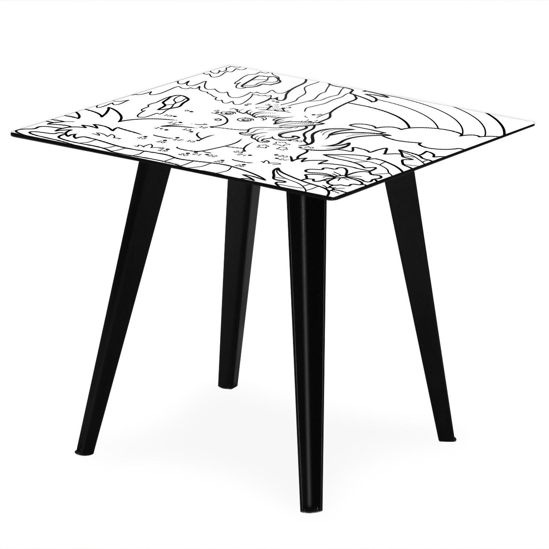 Table d'appoint magnétique carrée 40cm Bipolart Métal Noir avec 3 Tops style Kid