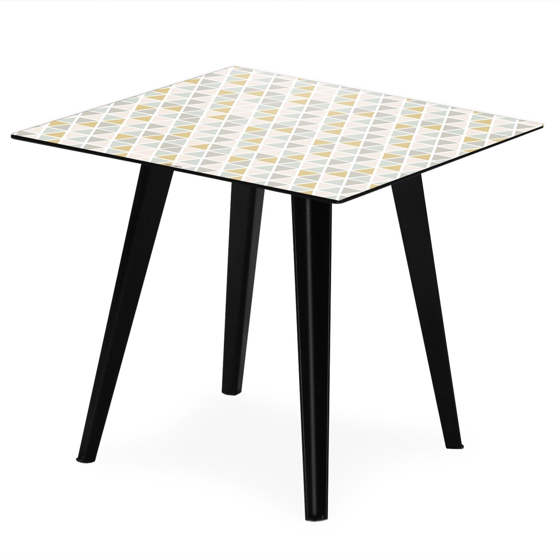 Table d'appoint magnétique carrée 40cm Bipolart Métal Noir avec 3 Tops style Scandinave