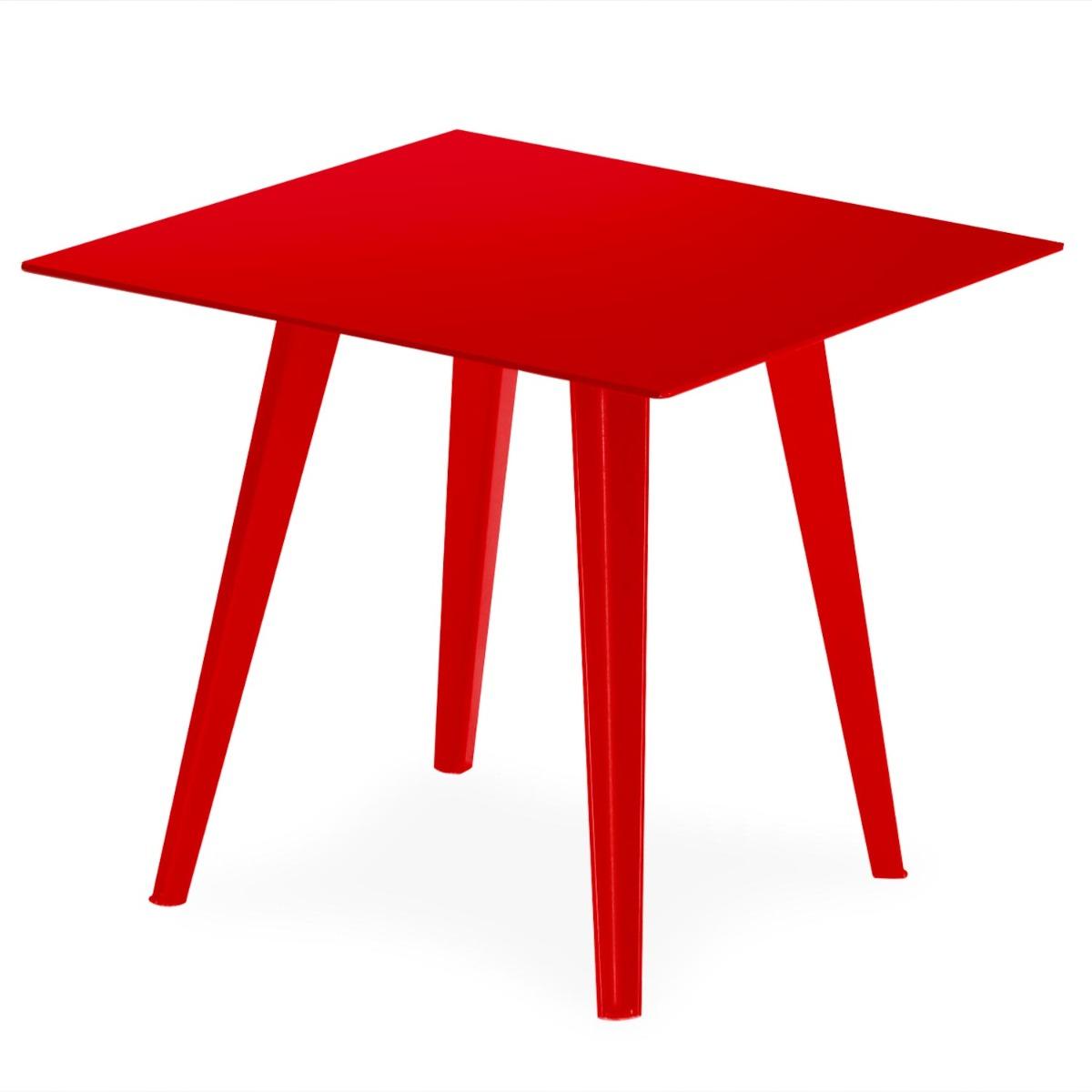 Table d'appoint magnétique carrée 40cm Bipolart Métal Rouge