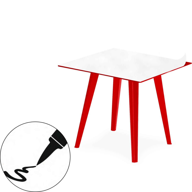 Table d'appoint magnétique carrée 40cm Bipolart Métal Rouge avec 1 Top Tableau blanc effaçable