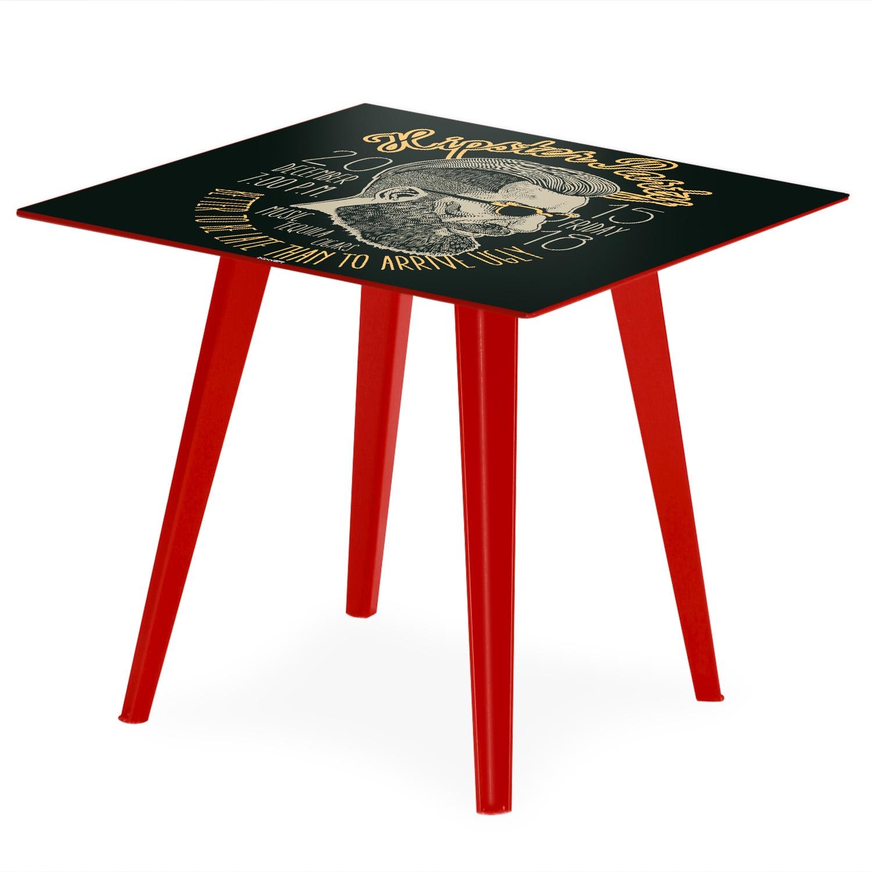 Table d'appoint magnétique carrée 40cm Bipolart Métal Rouge avec 3 Tops style Fun