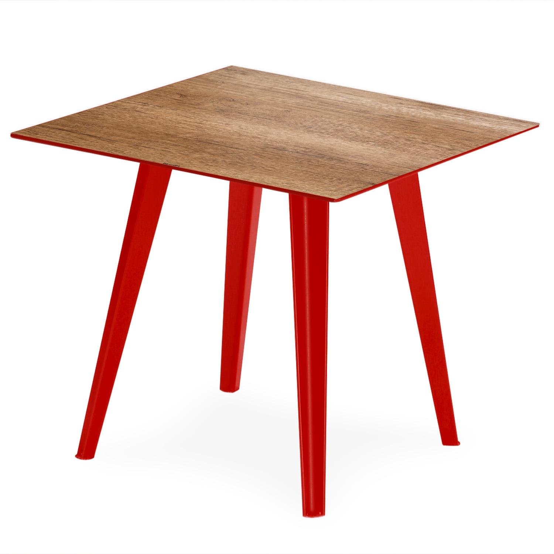 Table d'appoint magnétique carrée 40cm Bipolart Métal Rouge avec 3 Tops style Natural