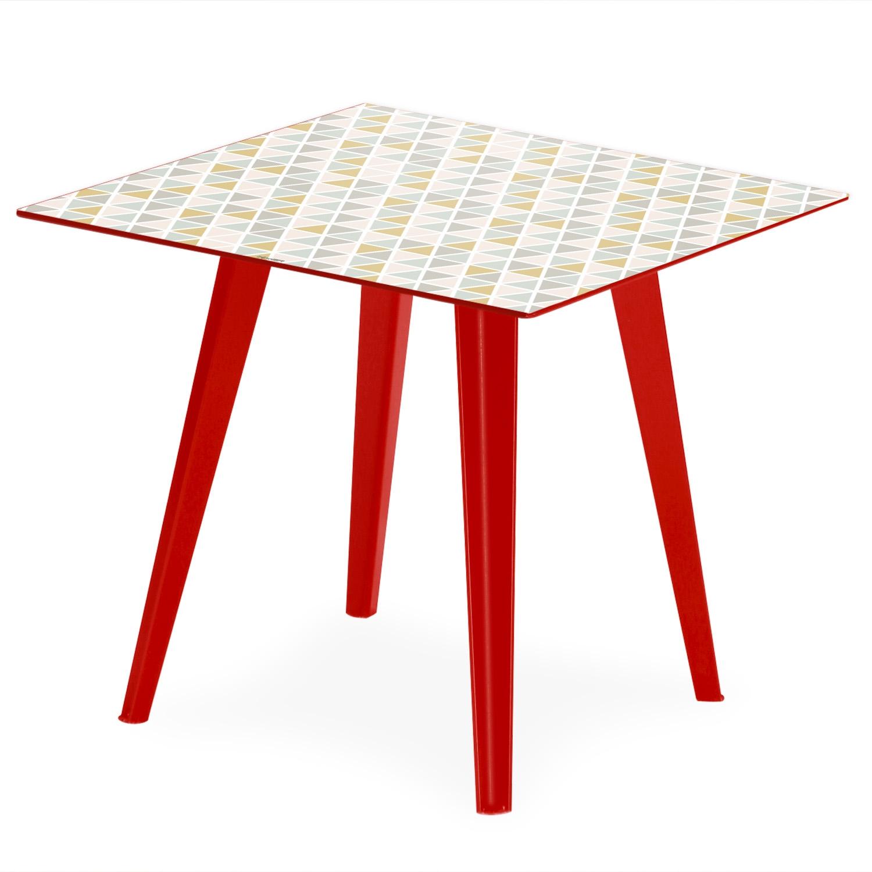 Table d'appoint magnétique carrée 40cm Bipolart Métal Rouge avec 3 Tops style Scandinave