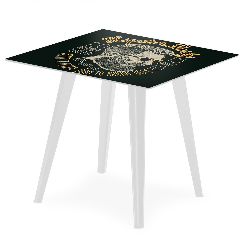 Table d'appoint magnétique carrée 40cm Bipolart Métal Blanc avec 3 Tops style Fun