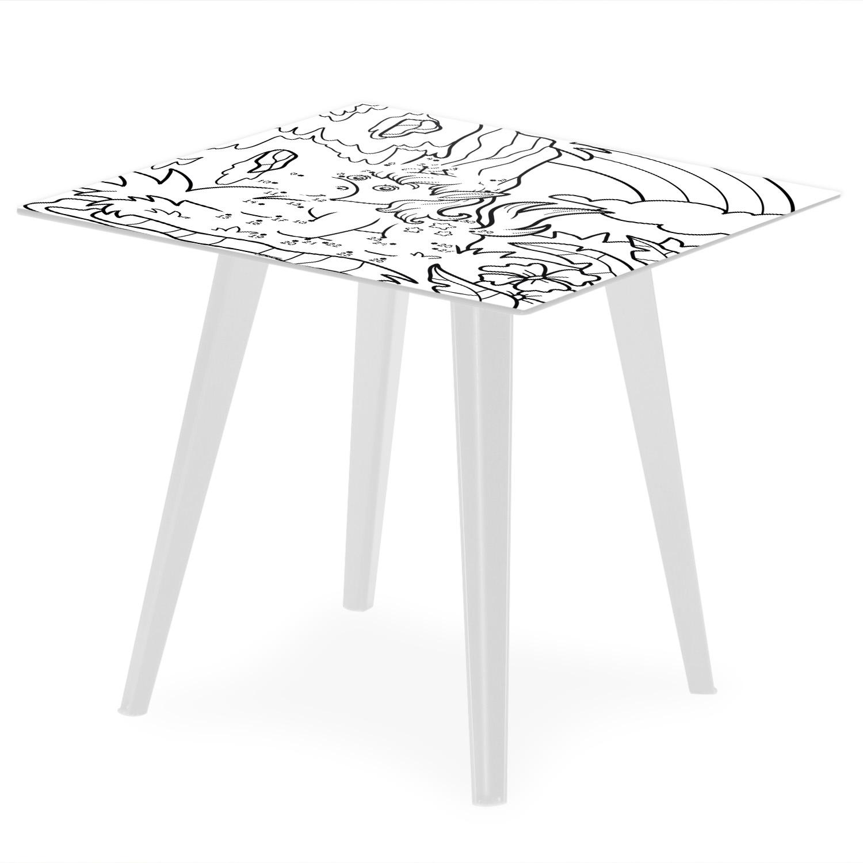 Table d'appoint magnétique carrée 40cm Bipolart Métal Blanc avec 3 Tops style Kid