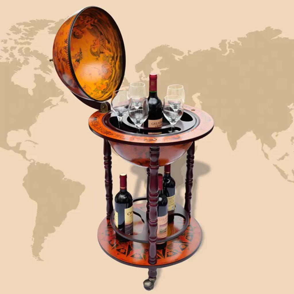Support de vin Globe Bois Massif Multicolore