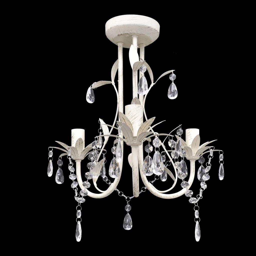 Suspension lustre 3 lumières Rimbaud Blanc antique