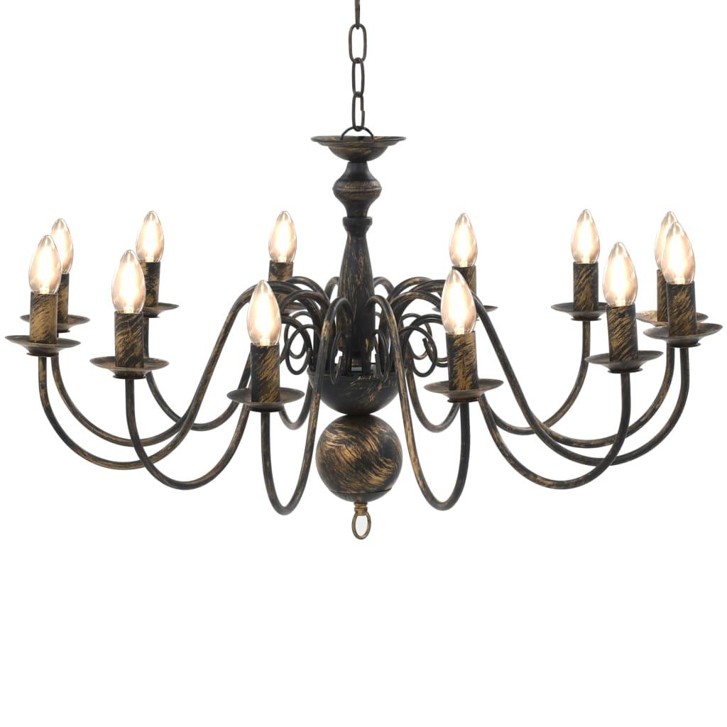 Suspension lustre Millux 12 ampoules Métal Noir antique