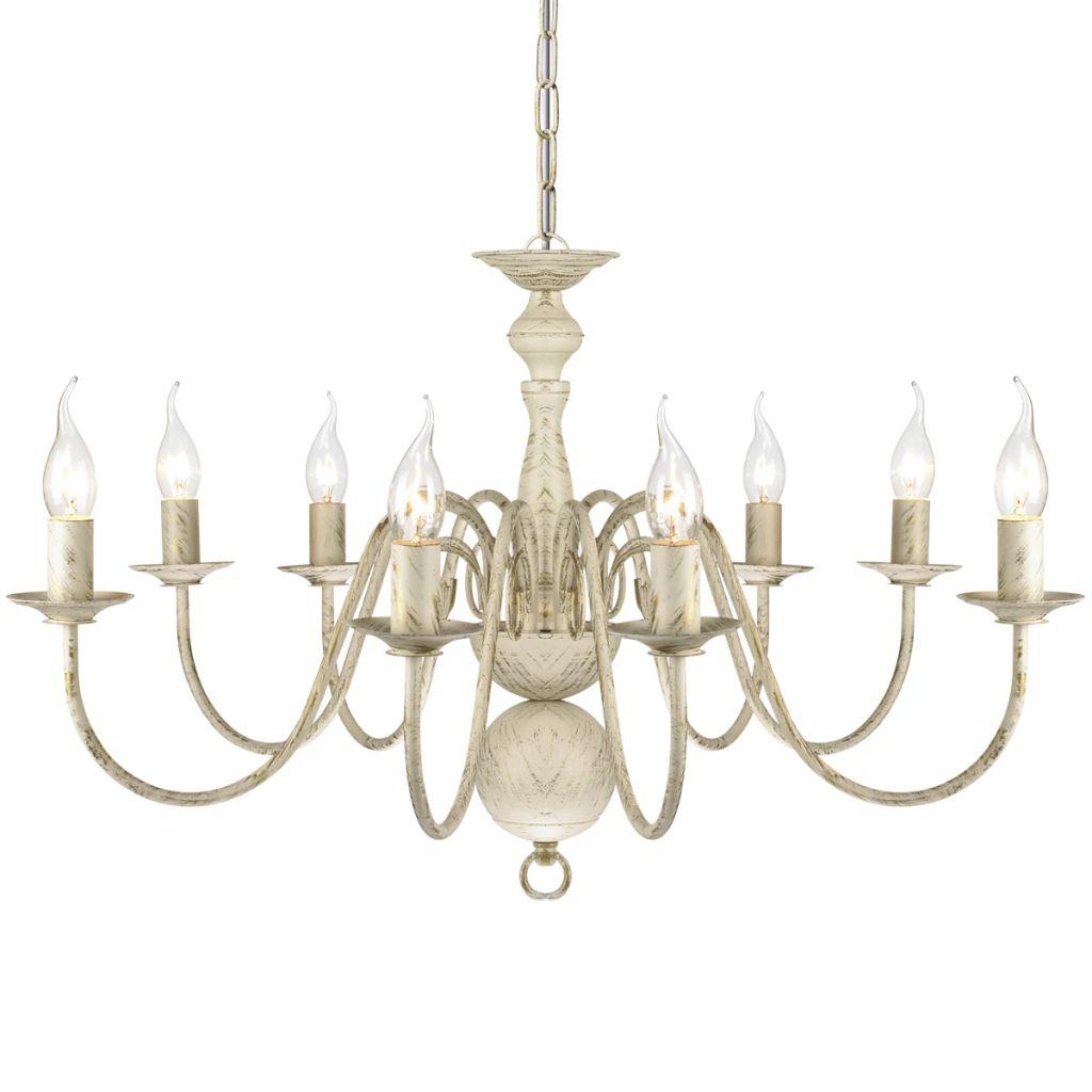 Suspension lustre Millux 8 ampoules Métal Blanc antique
