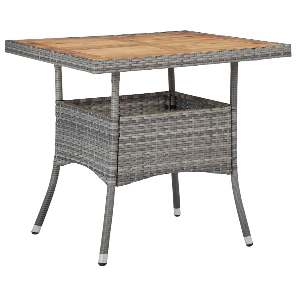 Table + 2 fauteuils Abella Bois Massif et Résine tressée Gris