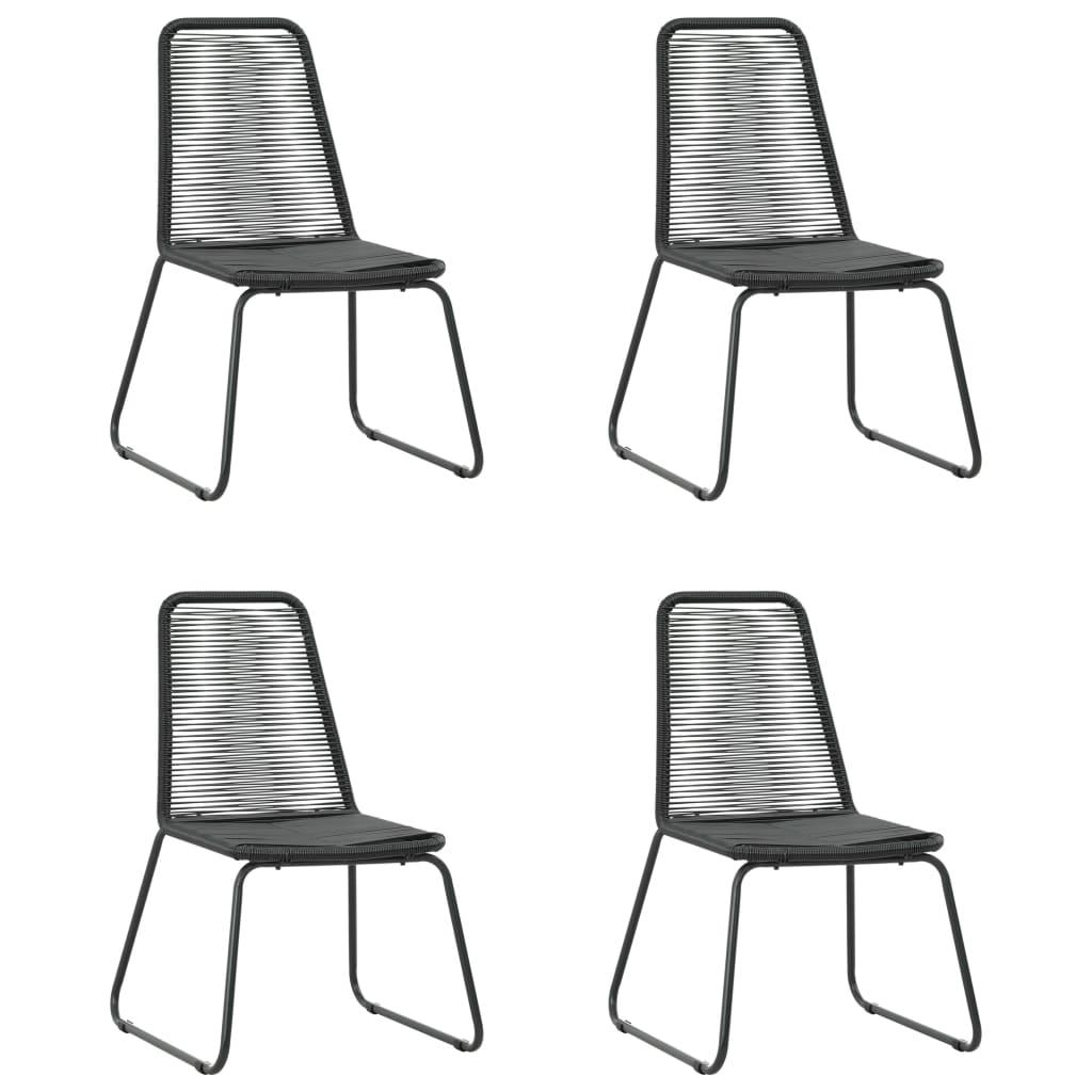 Table + 4 chaises en métal avec plateau en verre Kunas Noir