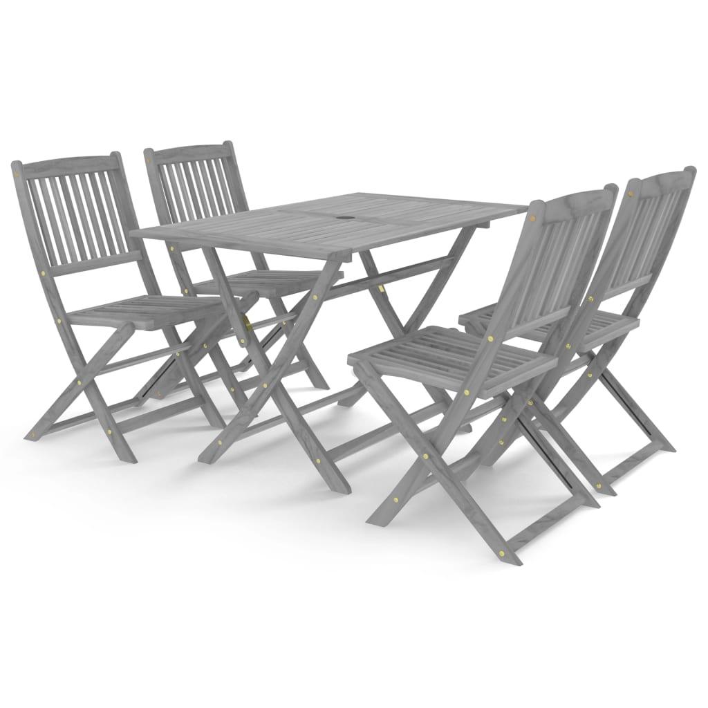 Table + 4 chaises pliables Calla Bois Massif Gris