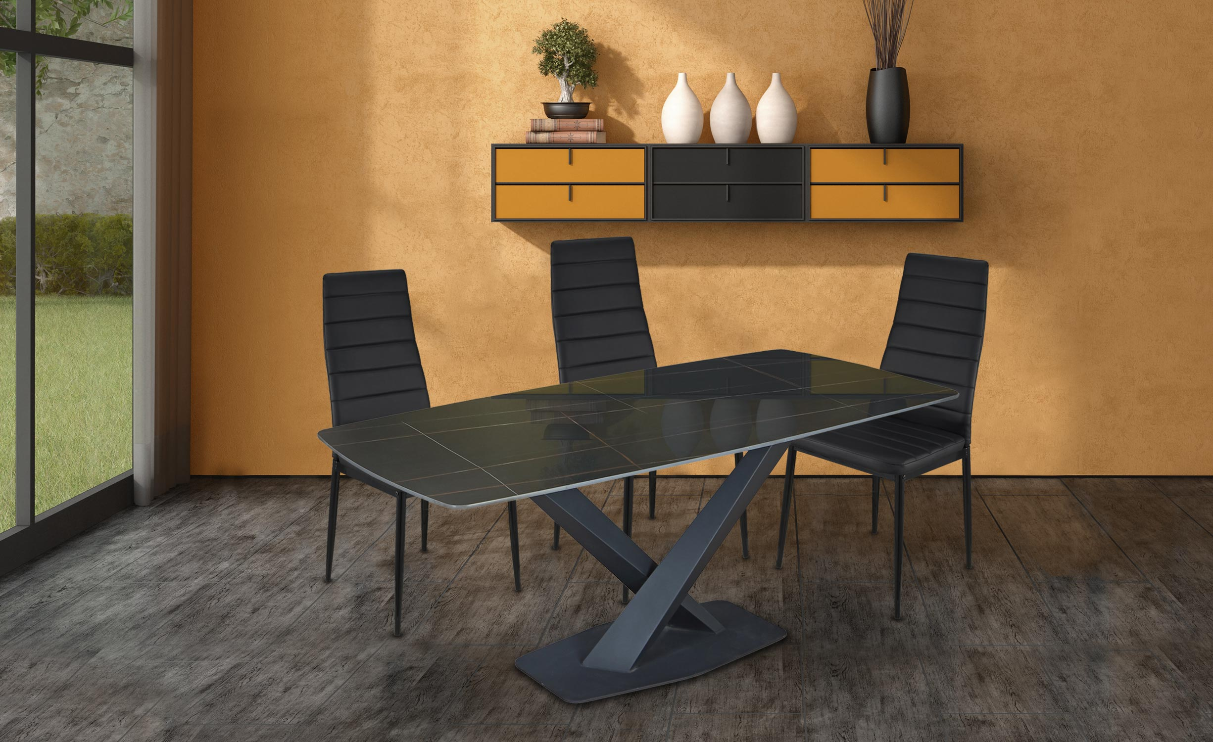 Table Axena en Verre Noir