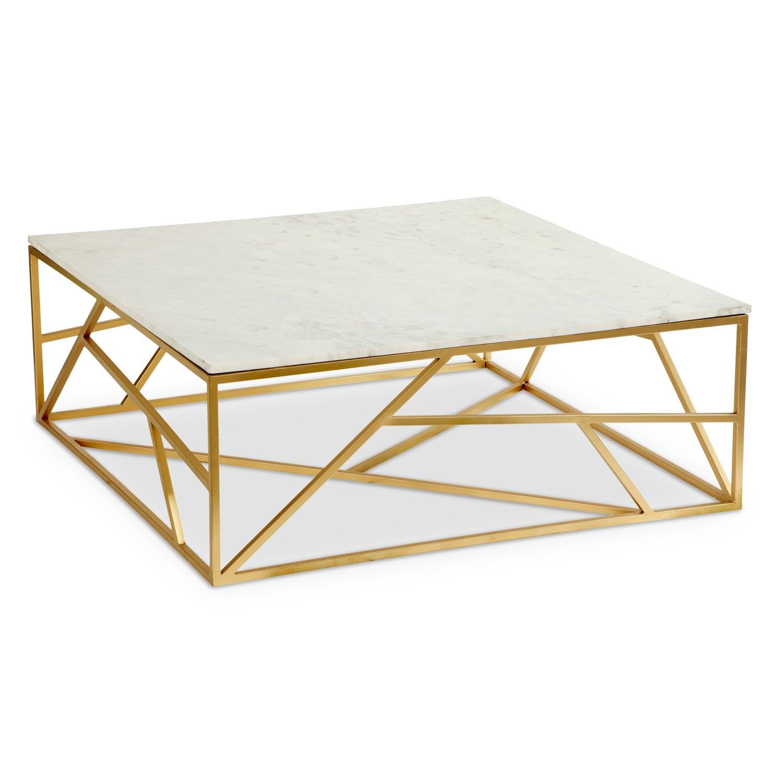 Table basse carrée Puzzle Marbre et Métal Or