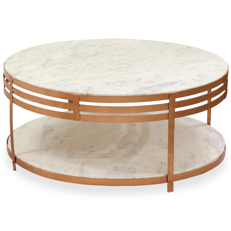 Table basse Celyan Marbre Blanc et Métal Bronze