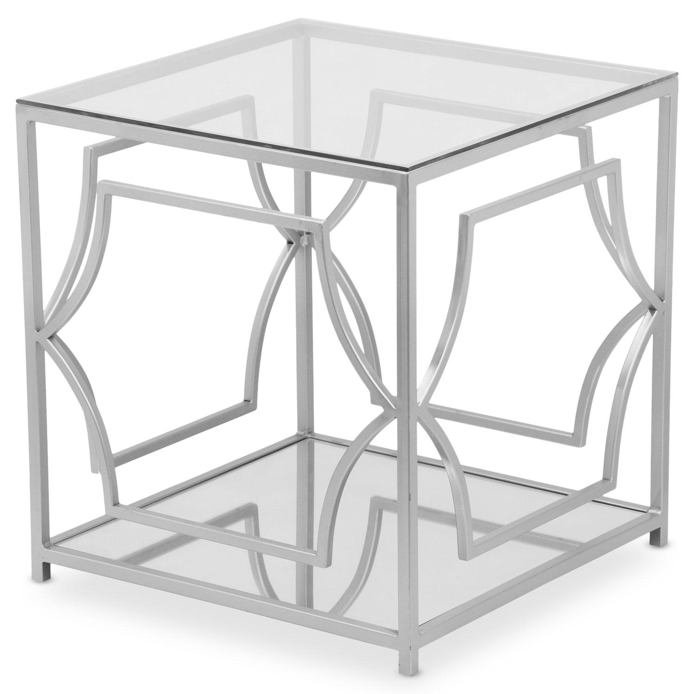 Table basse d'appoint Artefact en Verre Transparent et pieds Argent