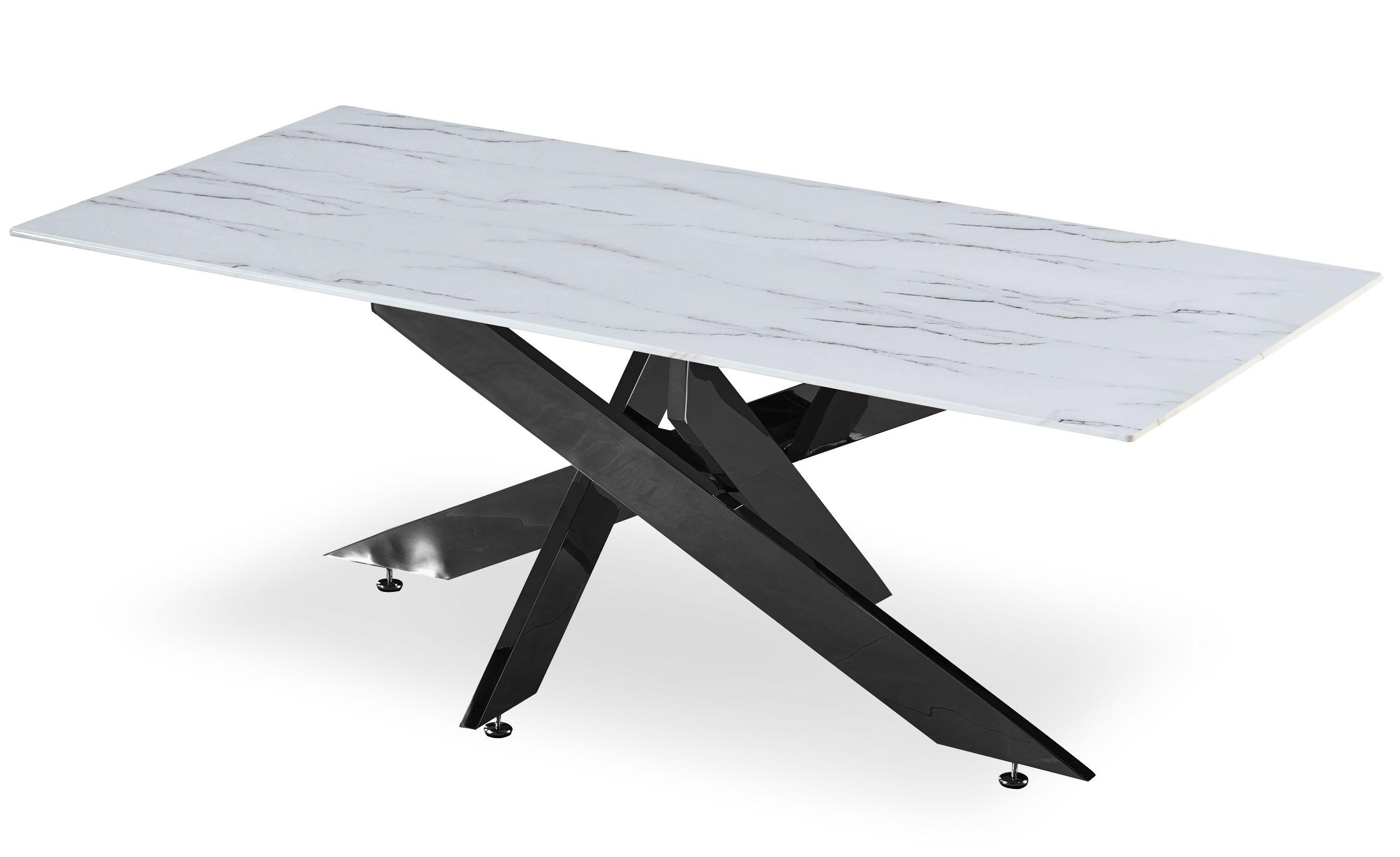 Table basse Naelle en Marbre Blanc et pieds Noir